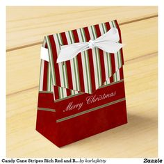Candy Cane Stripes Rich Red and Bow Favor Box