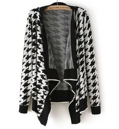 New Black and White Pattern Long Sleeve Cardigans