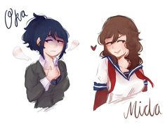 """Outfit Swap : Oka and Mida""""So some peeps still wanted to see this so here it is ! Yandere Simulator Characters, Shokugeki No Soma Anime, Love Sick, Sims 4, Drawings, Sadie, Peeps, Cartoons, Games"""