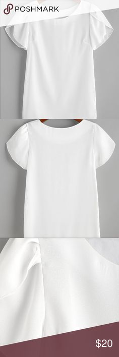 🆕💄White blouse with petal type short sleeve Item#RW9462808 measurements  Shoulder:16.1inch,  Bust:40.2inch,  Length:26.0inch,  Sleeve Length:7.9inch. Tops Blouses