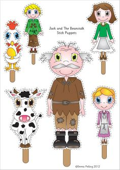 Jack the Beanstalk Puppets.A set of beautifully designed 'Jack and the Beanstalk' illustrations, ideal to cut out and use as visual aid stick puppets. Traditional Tales, Traditional Stories, Literacy Activities, Activities For Kids, Learning Resources, Princess Activities, Fairy Tales Unit, Story Sack, Fairy Tale Theme