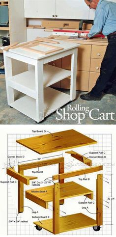 Rolling Shop Cart Plans - Workshop Solutions Projects, Tips and Tricks - Woodworking, Woodworking Plans, Woodworking Projects Workbench Plans, Woodworking Workbench, Woodworking Workshop, Woodworking Tips, Rental Makeover, Woodworking Furniture Plans, Intarsia Woodworking, Shop Organization, Shop Layout