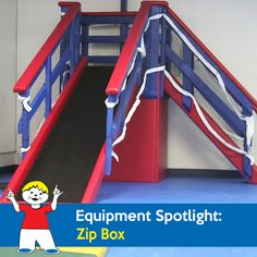 Using the Zip Box with Slide children have a place for landing after using the Zip Line. The benefits are an added sensory feeling as well as learning how to take turns and enjoying the fun of sliding rapidly to a safe and fun landing area. Sensory Equipment, Play Equipment, Sensory Room Autism, Sensory Play, Indoor Playground, Landing, Rock, Children, Kids