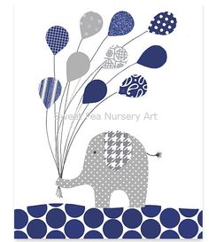 Elephant Nursery Art Gray Elephant Print by SweetPeaNurseryArt, $15.00