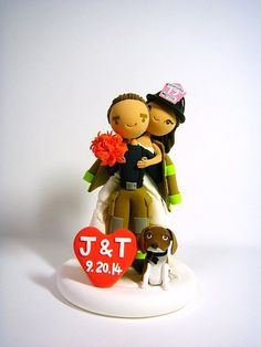 Firefighter customized wedding cake topper with the dog