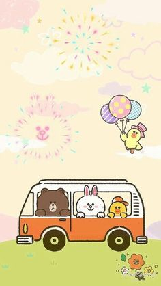 Line Friends Cute Couple Cartoon, Cute Cartoon Animals, Lines Wallpaper, Iphone Wallpaper, Line Brown Bear, Line Cony, Rilakkuma Wallpaper, Cute Love Pictures, New Toy Story