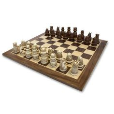 Perfect WE Games Medieval Chess Set   Polystone Pieces With Distressed Wooden Board  15 In. U003e