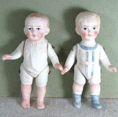 """3 1/4"""" & 3 3/8"""" Pair Little All Bisque Toddler Boys ~ Molded Clothes"""