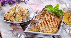 Nakkekoteletter med potet  og aïolisalat