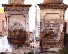 Portrait murals are especially effective when painted on dilapidated old walls, speaking about passage of time, life and real values