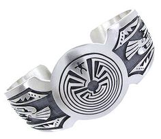 Kokopelli And Man In The Maze Silver George Phillips Hopi Bracelet IS62254 http://www.silvertribe.com