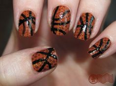 It's March Madness! Basketball nails, how cute - Click image to find more Hair & Beauty Pinterest pins