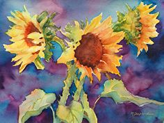 SUNFLOWERS II_Mary Shepard original Watercolor painting on 16 x 20 Arches watercolor paper. Yellow sunflowers painted in bright, transparent hues www.maryshepard.com