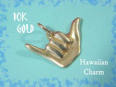 14K Gold - Hawaii Shaka Hang Loose Charm Pendant - Hawaiian Good Luck Greeting Surfer Beach - For Charm Bracelet or Necklace - FREE SHIPPING by FindMeTreasures on Etsy