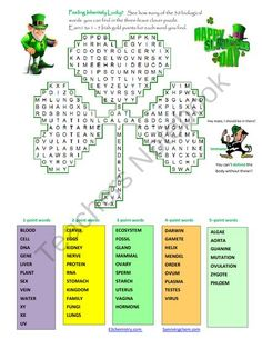 St. Patricks Day three-leave clover Word-Search Puzzle for fun in Biology product from E3Chemistry on TeachersNotebook.com
