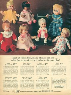 Vintage talking dolls from the Just pull the string and they say different things! - Click Americana Vintage talking dolls from the Just pull the string and they say different things! Old Dolls, Antique Dolls, Vintage Dolls, Vintage Toys 1970s, Vintage Ads, 1960s Toys, Retro Toys, My Childhood Memories, Childhood Toys