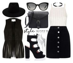 """""""Black Lady"""" by joslynaurora on Polyvore featuring Cristina Ortiz, Topshop, Miss Selfridge, rag & bone, Burberry, River Island, LULUS, skirt, contestentry and laceupsandals"""