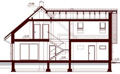 Przekrój DN NOELIA MODERN 2M CE Malaga, House Plans, Floor Plans, How To Plan, Modern, Furniture, Home Decor, Collections, Country Houses