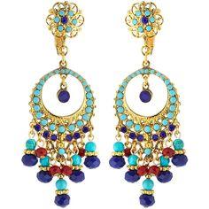 Jose & Maria Barrera Austrian Crystal Filigreed Hoop Drop Earrings ($189) ❤ liked on Polyvore featuring jewelry, earrings, multi, flower jewelry, austrian crystal jewelry, filigree jewelry, round earrings and drop dangle earrings