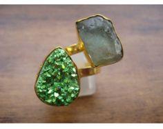 Green Apatite Ring/Raw Gemstone RIng/Druzy Rings//Cocktail Ring/Statement Ring/Adjustable Ring/Gemstone Rings/Gold Ring