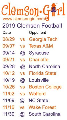 Clemson Athletics announced the 2016 Clemson football schedule today. including a Friday night game vs. Clemson Football Schedule, Football Sites, Clemson Memes, College Football, Tiger Girl, Clemson Tigers, Auburn Tigers, Down South