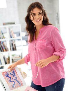 Janet und Joyce by Happy Size Tunika oil wash gepunktet für 29,99€. Lockere Passform, figurumspielend, Oil wash Baumwolle – jede Bluse ein Unikat bei OTTO