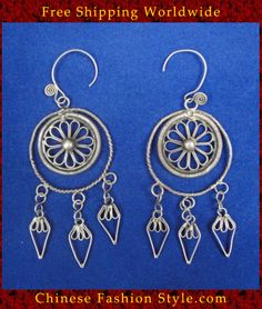 Tribal Silver Earrings Chinese Ethnic Hmong Miao Jewelry #330 Uniquely Handmad  http://www.chinesefashionstyle.com/earrings/