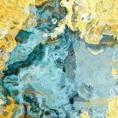 """Contemporary art abstract giclee canvas print with gallery wrap, 24x24 in yellow and aqua, from abstract painting """"Sea and Sand"""". $165.00, via Etsy."""