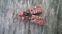 Copper and Salmon Rustic Windowpane Earrings // by AcaciaAvenue, $16.00