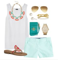coral & aqua preppy style
