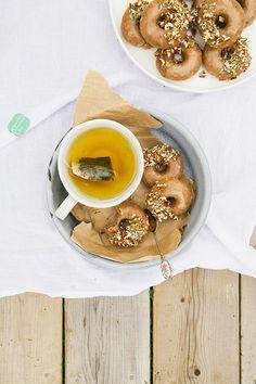 vegan + gluten free maple doughnuts w/ salted almond butter glaze [The First Mess]