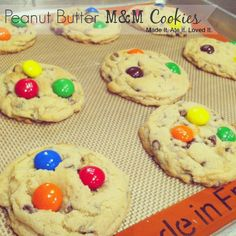 my favorite chocolate chip cookies with peanut butter M&M's