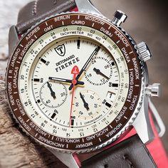 detomaso firenze | Details zu Detomaso Firenze Herrenuhr Brown Beige Chronograph ...