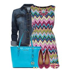 """""""Skater Dress & Denim Jacket"""" by stay-at-home-mom on Polyvore"""
