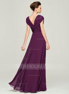 A-Line/Princess V-neck Floor-Length Chiffon Mother of the Bride Dress With Beading Sequins Cascading Ruffles (008062562)