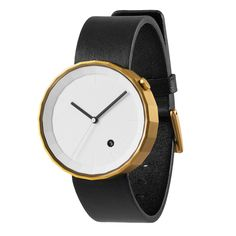 The Polygon by Chi and Chi is available with a gold brushed stainless steel case and a black leather strap. #watches #design