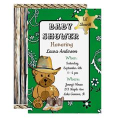 Lil' Sheriff Teddy Bear Cowboy Green Baby Shower Card Custom #babyshower invitations - Make your special day with these personalized #baby #shower #invitations change the colors font and images and make them your own.