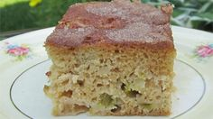 Fresh rhubarb, sour cream, and a hint of nutmeg star in this easy coffee cake.