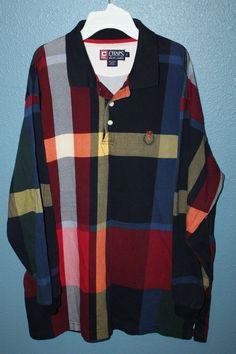 3f7a8136 Chaps by Ralph Lauren long sleeve plaid polo shirt Men's Size XL Color Block  | eBay