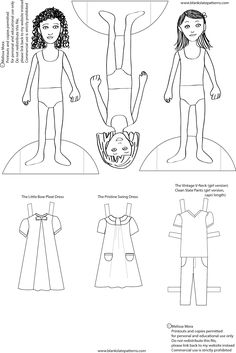 Melly Sews: Blank Slate Paper Dolls for Girls - Free Printable dolls to color