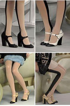 Chanel stripe tights or Cruella Deville?