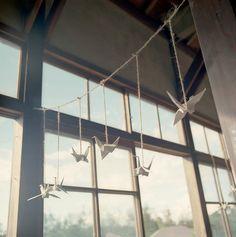 horizontal paper cranes string, i like.