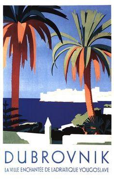 Vintage Dubrovnik Yugoslavia - Croazia  Tourism Poster #essenzadiriviera.com  - www.varaldocosmetica.it/en