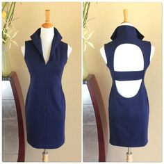 """Catherine Malandrino navy cut out back dress Catherine Malandrino navy V neck dress with stunning cut out back detail. Very soft with a nice weight to it to hide any blemishes. Stretch to it with an exposed gunmetal side zipper. Wonderful condition. Measures 36"""" long 16.5"""" across bust 15"""" at waist and Aprox 17 1/4"""" at hips. Catherine Malandrino Dresses"""
