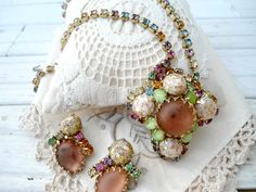 Vintage Demi Parure Statement Necklace and Earrings - Confetti Art Glass Necklace and Clip on Earrings on Etsy, $89.00