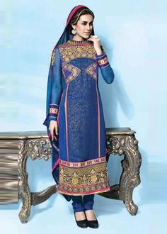 BLUE GEORGETTE SALWAR KAMEEZ PRICE: US$91 FREE SHIPPING USA CANADA BEST PRICE & QUALITY GURANTEED