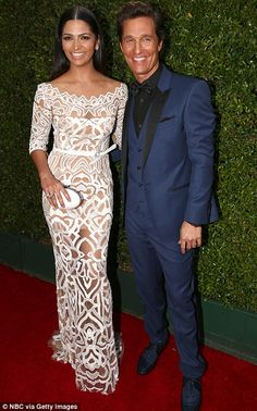 Glamorous couple: Matthew McConaughey was hoping to round off his awards haul with an Emmy win for True Detective - as he arrived with wife ...