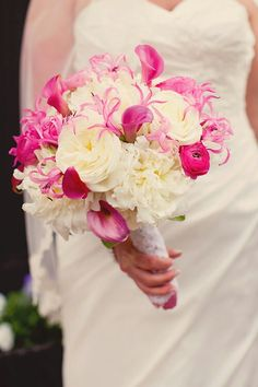This Pretty Bouquet Features White Open Peonies, White English Garden Roses, Hot Pink Ranunculus, Mini Calla Lilies, & Pink Gloriosa Lilies^^^^