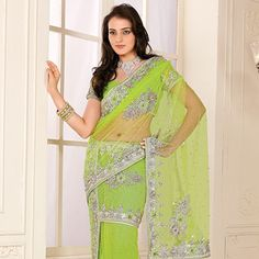 Green Net Lehenga Style Saree with Blouse