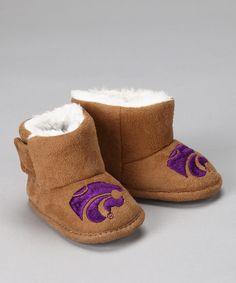 Tan Kansas State University Slipper Booties - Kids